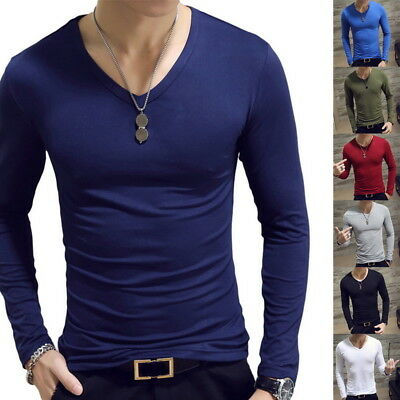 Fashion Men Slim Fit O Neck Long Sleeve Muscle Tee T-shirt Casual Tops Blouse US