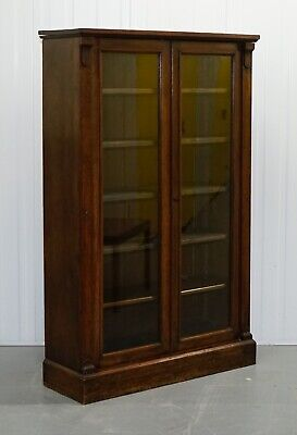 Beautiful Victorian Mahogany Glazed Door Bookcase - Matching Bookcase Available