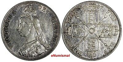 GREAT BRITAIN Victoria Silver 1887 Double Florin Mintage-483,000 Roman XF KM#763