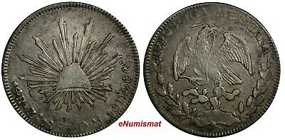 Mexico FIRST REPUBLIC Silver 1853/2 Zs OM 4 Reales OVERDATE Zacatecas KM# 375.9