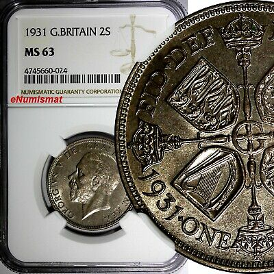 Great Britain George V Silver 1931 Florin , 2 Shillings NGC MS63 GEM BU KM# 834
