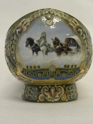 Antique Russian Faberge silver 88 cloisonne and pictorial enamel kovsh