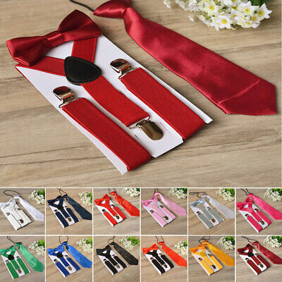 Cute Suspenders Bow Tie Necktie Toddler Tuxedo Matching Braces Kids Boys Girls