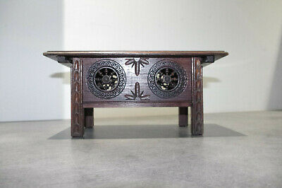 art deco French QUIMPER BRETON doll fourniture Carved Wooden WOOD table trunk