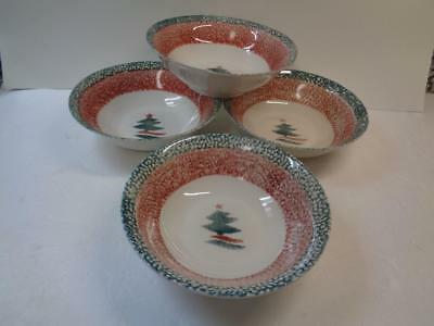 Set of 4 Gibson Housewares CHRISTMAS STAR Soup Bowls Sponged Green & Red Mugs