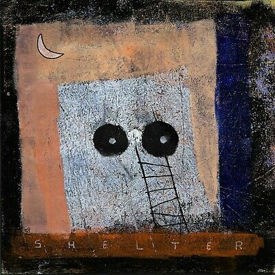 shelter e9Art 8x8 Ready to Hang Acrylic on Wood Abstract Outsider Art Painting