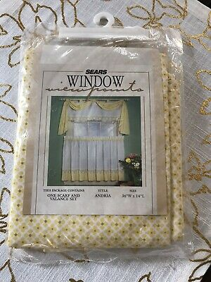 """Vintage New Old Stock SEARS Curtains~Scarf And Valance Set~MCM Retro~36 X 14"""""""