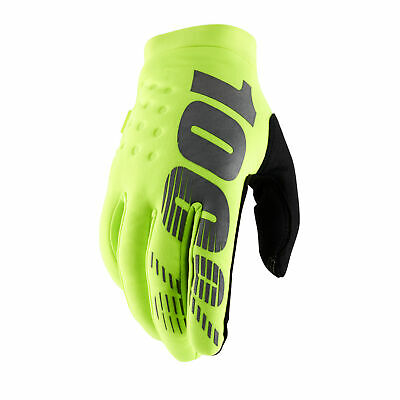 100 Percent Brisker Mens Gloves Mx Glove - Fluo Yellow All Sizes