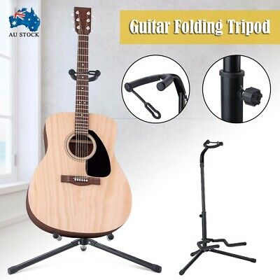 AUS Guitar Folding Tripod Stand Black Acoustic Electric Gear Metal Holder New