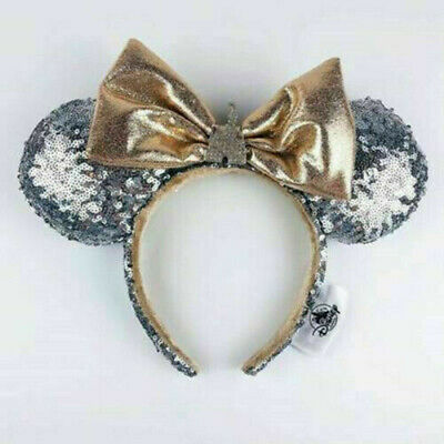 Disney Parks Minnie Mouse Ears Bow Castle Jewel Silver Headband Hat Sequin gift
