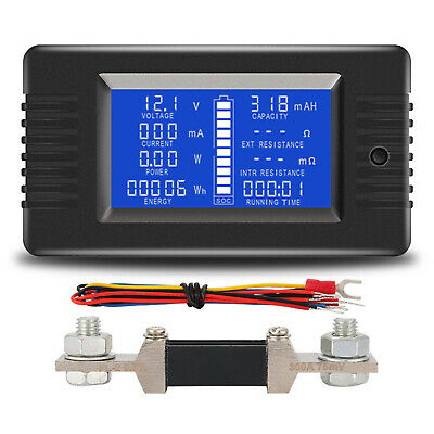 DC Battery Monitor Meter LCD Display 0-200V 0-300A Multimeter with 300A Shunt