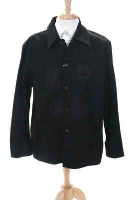 Givenchy Mens Long Sleeve Button Front Collared Jacket Black Denim Extra Large