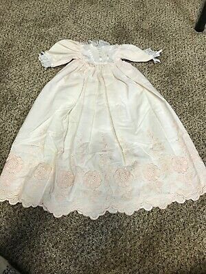 Vintage Beautiful Baby Or Doll  Pink Embroidered Gown