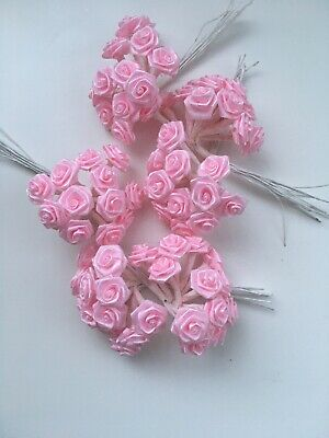 72 Small Pink Ribbon Roses Wire Stems Wedding Bridal Flowers Flower Bundle 1cm
