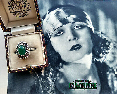ANTIQUE ART DECO 1920s STERLING SILVER CHRYSOPRASE MARCASITE RING SIZE L