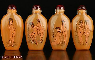 Collectable Four Glass Wonderful Naked Woman Inside Painted Snuff Bottle MNH