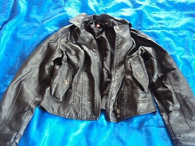 George girls Fake leather Black Biker style jacket coat  aged 9-10