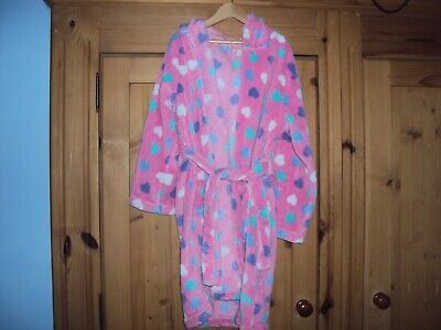 Blue Zoo fluffy dressing gown pink spotty age 8-9 years with hood