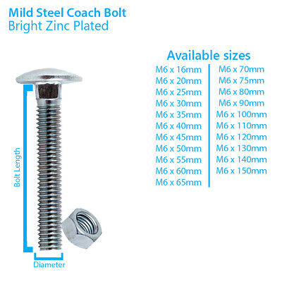 CUP SQUARE M8//8mm BRIGHT ZINC PLATED STEEL CARRIAGE COACH BOLTS /& NUTS