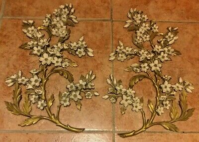 Vintage 1960's Dogwood Flowers Floral Shabby Chic Wall Hanging Dart Industries