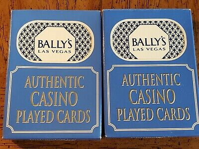 2 Decks Total Bally's Casino Las Vegas Blue Playing Cards. Used in Casino.
