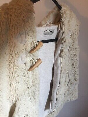 Next Girls Size 2-3 Body Warmer Cream Fluffy