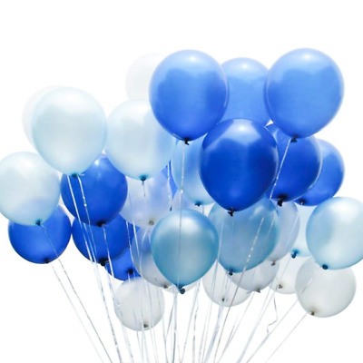 PuTwo Party Balloons 12 Inch 10 Pcs White & Blue Latex for Decorations