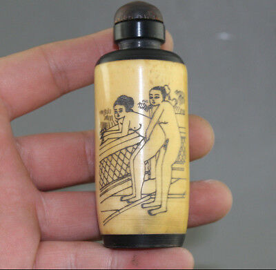 Rare Chinese Hand-carved pornographic/erotic pictures Snuff Bottle  NN