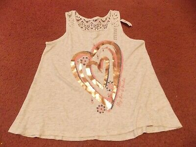 justice-girls size 18/20 tanish- Foil design- Crochet topping--nwt