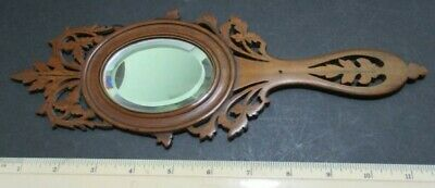 Old Carved / Fretwork Hand Mirror - Inlay Work To Back - Dancing Couple
