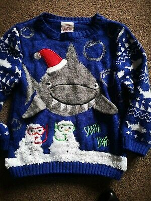 Boys Christmas Shark Knitted Jumper Age 2-3 Years George