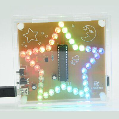 Five-Pointed Star RGB LED DIY Kit Flashing Light Music Player Colorful WAV Kits