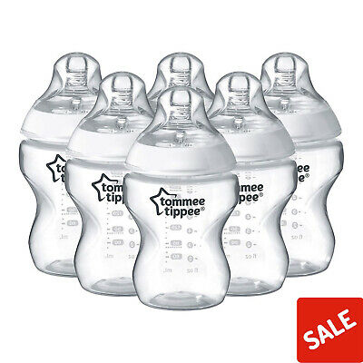 6 X Tommee Tippee Closer To Nature Baby Feeding Bottles 260ml/9oz 0m+ Slow Flow
