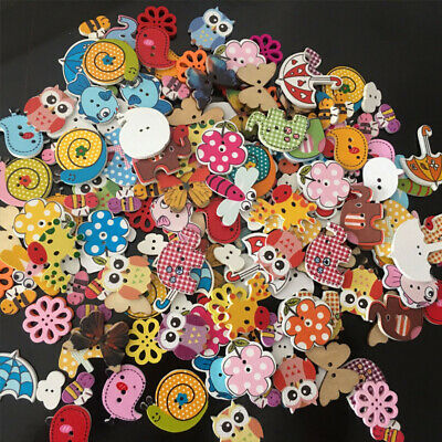 50x Lovely Animals Rabbit 2-holes Wooden Buttons Sewing Clothes Decor 44mm