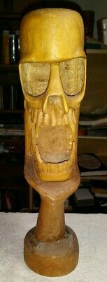 Hand Carved Wooden Sculpture Replica Human Wood Skull Hand