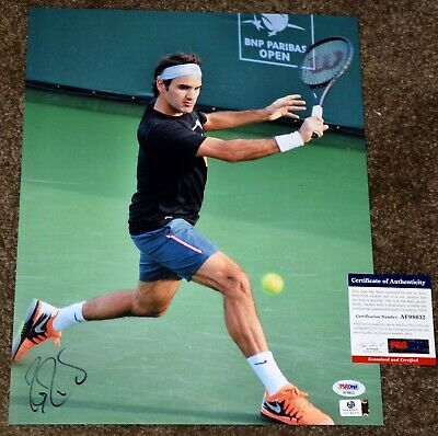 "ROGER FEDERER Signed 11x14"" Photo #19 -  *PSA/DNA COA - Backhand"