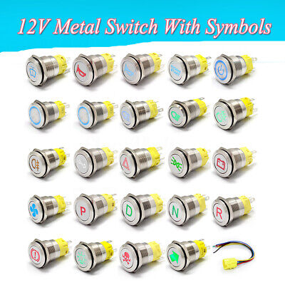 19mm 12V Car LED Metal Push Button Switch Dashboard Custom Symbol 4 Momentary