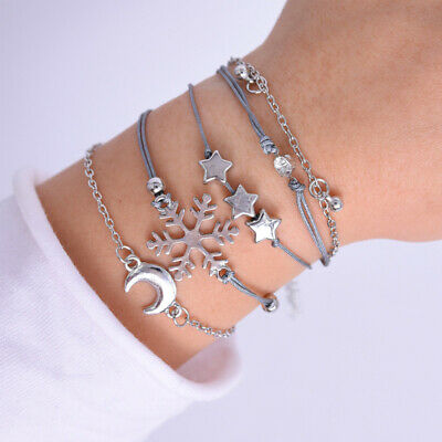 1Set Fashion Women Jewelry Set Gold/Silver Alloy Bracelets Wrist Chain Jewelry
