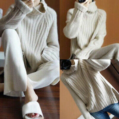 Womens Loose Pullover Knitted Jumper Winter Turtleneck Long Sleeve Baggy Sweater