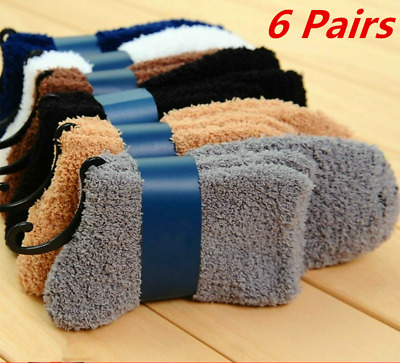 6 Pairs Cosy Bed Socks Mens Fluffy Home Sock Thick Indoor Winter Warm Soft Solid