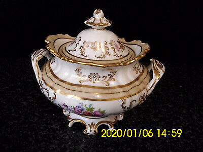 18th-19th Century Antique English Rockingham Style Porcelain Covered Sucrier