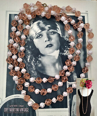 ANTIQUE ART DECO 1920s BEAUTIFUL ANGEL SKIN PINK BEADS FLAPPER NECKLACE GATSBY