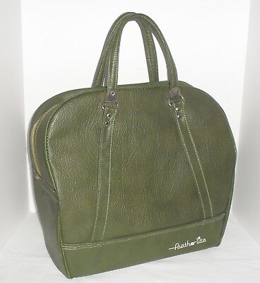Vtg Feather Lite Travel Case Luggage Avocado Green Carry-On Train Overnight Bag