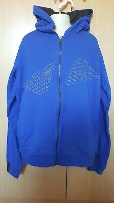 Boys Blue Armani Junior Zip Hoodie Age 16 Brand New With Tags