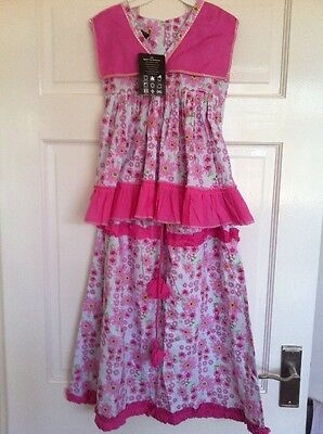 BNWT Girls White Pink Cotton Floral Skirt Top Set Indian Lengha 7 Years