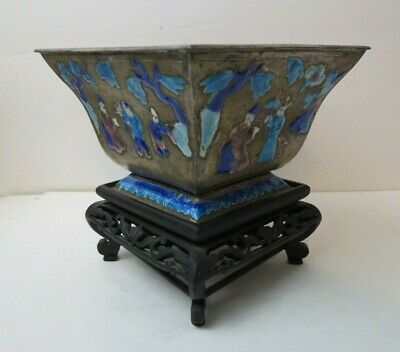 Antique Chinese Enamel Scenic Repousse Square Tapered Vase Bowl on Wood Stand