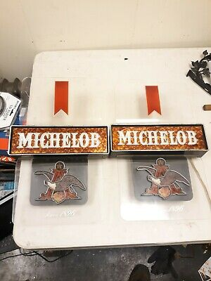 2x (VTG) Michelob beer light up sign Anheuser-Busch eagle Game Room Man Cave 70s