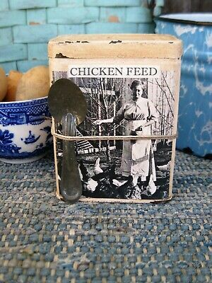Antique Pantry Tin Old Photo Print Chicken Feed w Old Tin Spoon Free Shipping