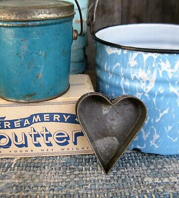 Early Antique Tin Heart Cookie Cutter Tart Mold w Rolled Edges Free Shipping