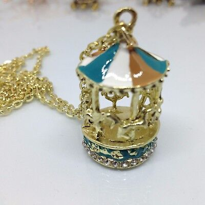 Sweet Enamel Carousel Merry Round Horse Charm Pendant Sweater Chain Necklace YB